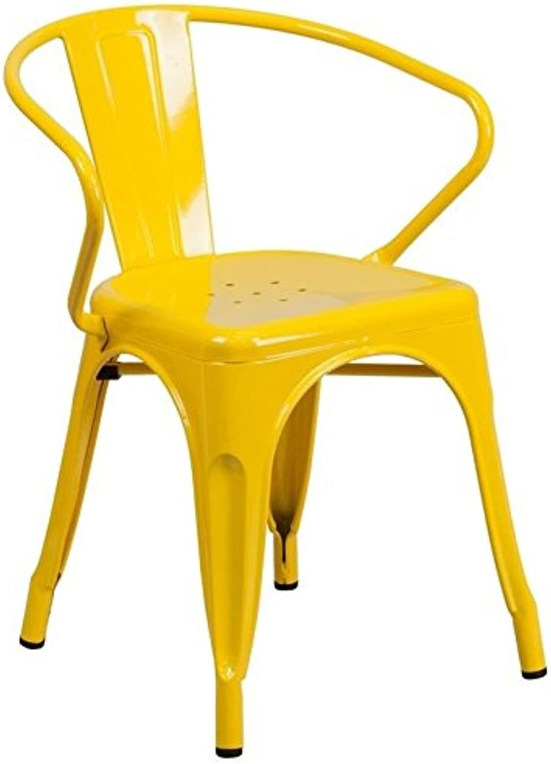 Scranton & Co Metal Dining Arm Chair in Yellow