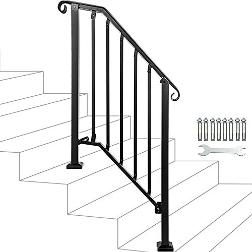 YIKE-Handrail 7-Shaped Black Stair Handrail Industrial Wind Carbon Steel Pipe Railing Fence Home Indoor Ladder D Can be Customized Size