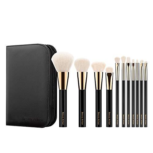 Brosse Maquillage Kit 11 Maquillage Portable Brosses Super Soft Outils de Maquillage débutant Laine Animale Ensemble Complet PU cosmétique Sac Noir pour Le Visage et cosmétiques Eye