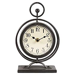 Vintage Metal Table Clock on Stand,Decorative Desk and Shelf Clock,Rustic Black Mantel Clock for Kitchen,Living Room - 5.7 x 2.55 x 9.25