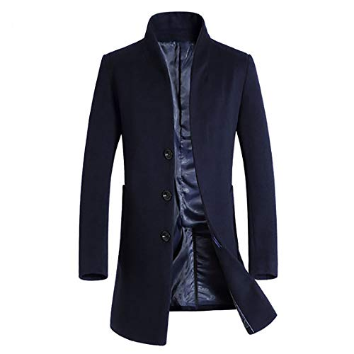 Muranba Clearance Men Slim Trench Coat Double Breasted Long Jacket (M, Navy K)