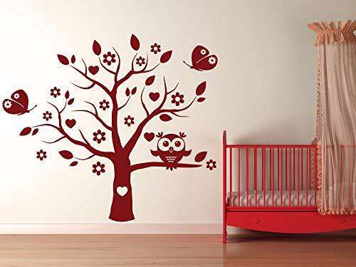 GRAZDesign Aufkleber über Kinderbett - Wickelkommode - Babybett Eulenbaum - Wandaufkleber Kinderzimmer Eule auf Baum - Wandtattoo Schmetterlinge / 65x57cm / 054 türkis