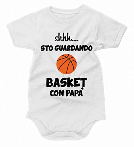 bubbleshirt Body Neonato Divertenti Shhh. STO Guardando Basket con papà - Festa del papà - Idea Regalo