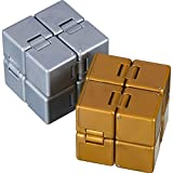 2 Packs Infinity Cube Fidget Toys Fidget Blocks, Mini Infinity Cube Desk Toy Stress Relief Toys, Cube ADHD Desk Toy for Kids and Adults, Sensory Toys for Autistic Children (Gold, Grey)