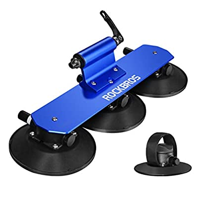 ROCKBROS Suction Cup Roof Bike Rack for Car Roof Sucker Bicycle Carrier Quick Release Aluminium Alloy Roof Rack for 1 2 3 Bikes (1-Bike Blue)