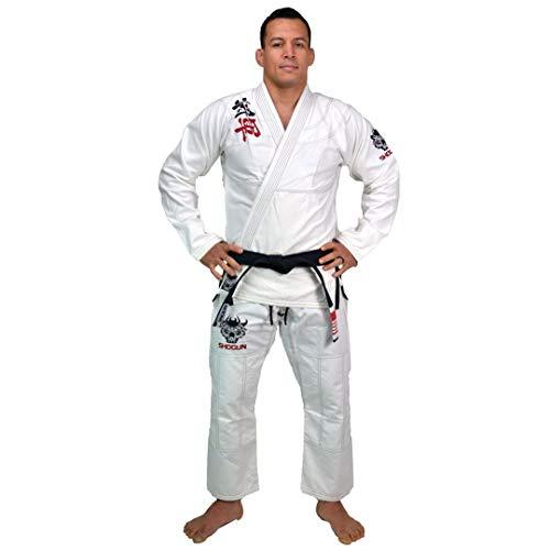 SHOGUN Fight Jiu Jitsu Gi Ultra Light 'Kanji' 350gsm Pearl Weave Cotton Premium BJJ White A5