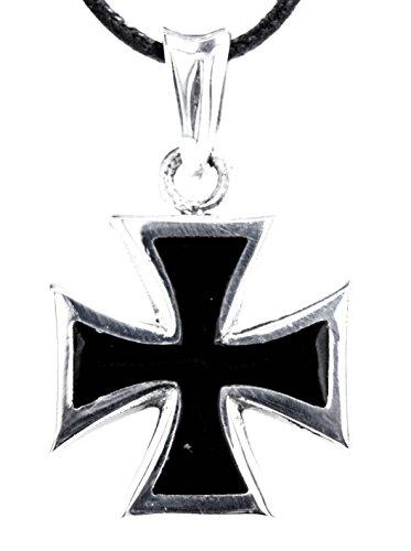 Kiss of Leather EK Kreuz Anhänger aus 925 Sterling Silber mit Kette 45-65 cm