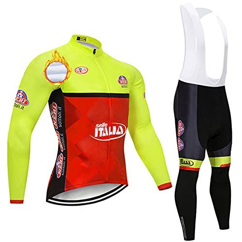 ASHBEIK Magliette Ciclismo Uomo, Completo Ciclismo Uomo Invernale con Salopette Ciclismo Asciugatura Rapida per MTB Bici Corsa
