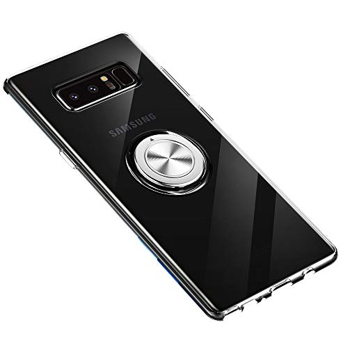 Samsung Galaxy Note 8 Case 360 Metal Rotating Ring with Kickstand Holder Magnetic Car Mount Soft TPU Case Shockproof Case Protection for Samsung Galaxy Note 8 Case (Clear)