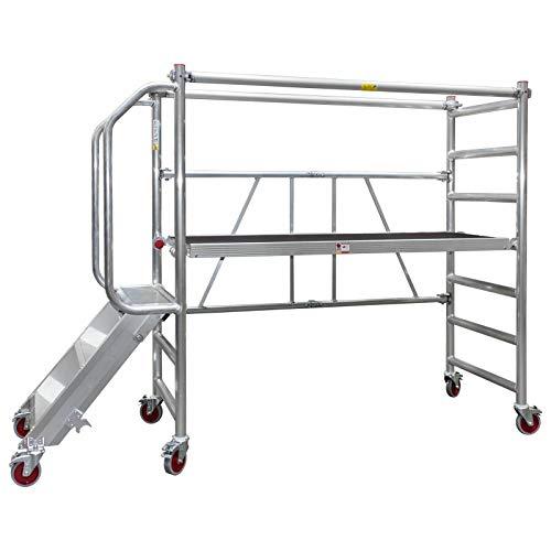 Jumbo® Aluminio plegable de andamio–Andamio de ruedas de transporte de trabajo Etapa...