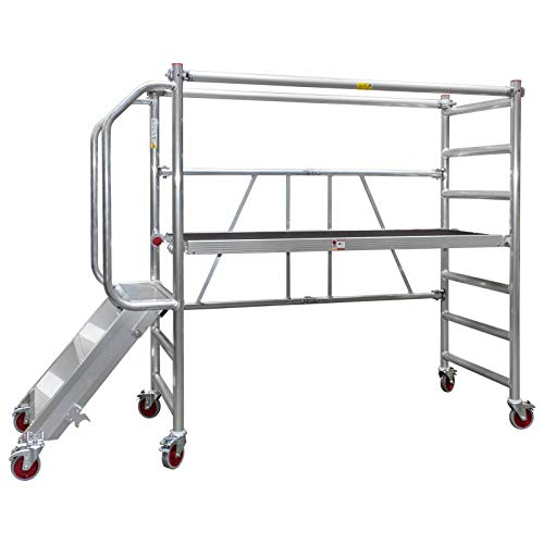 Jumbo® Aluminium Falt-Gerüst Klapp-Gerüst fahrbar Arbeits-Bühne faltbar klappbar Plattform-Höhe 0,5-1,0m mit Treppe
