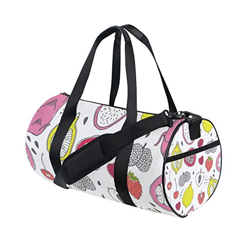 AJINGA Cartoon Fruit Travel Duffle Bag Sports Luggage with Backpack Straps for Gym