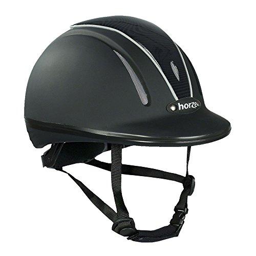 horze Pacific Reithelm Verstellbarer Helm VG1 Defenze, Schwarz/Schwarz(BL/BL), S-M