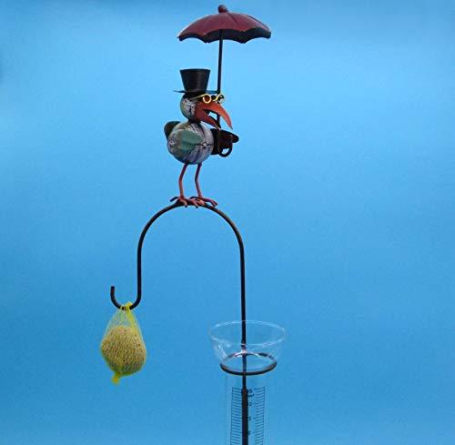 Pommerntraum ® | Regenmesser Niederschlagsmesser Pluviometer Rostoptik Prof. Dr. Rabe mit Regenschirm + Meisenknödelhalter - tolle Gartendekoration