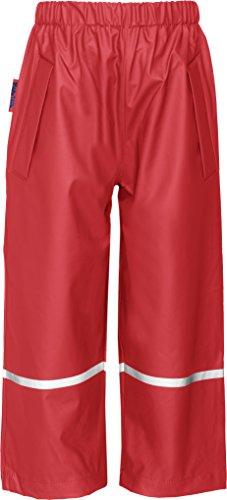 Playshoes Kinder Regenhose, Buddelhose zum Überziehen für Mädchen und Jungen, Bundhose, wind- und wasserdicht, Rot (8 rot ), 128