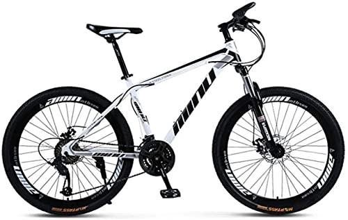 Bicicletas de montaña, 26 pulgadas, hombres y mujeres, adultos, velocidad variable, bicicleta de montaña, carreras, radios, ruedas, marco de aleación con frenos de disco (color: blanco negro, tamaño