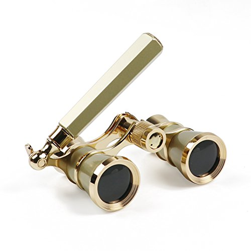 Kingscope 3X25 Vintage Opera Glasses Binoculars for Theater Musical Concert (Lorgnette,Golden, with Handle)