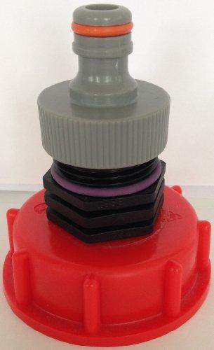 AM13599 Auslaufadapter mit Stecker passend für Gardena, IBC-Container-Zubehör-Regenwasser-Tank-Adapter-Fitting-Kanister