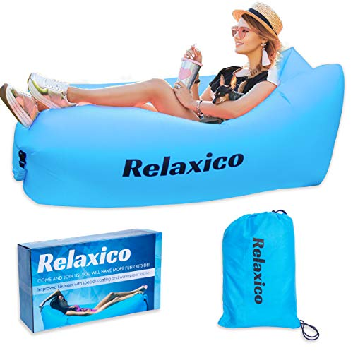 RELAXICO Inflatable Lounger – Waterproof Air Lounger with Travel Bag. Lazy Hammock, Portable Inflatable Sofa – Relaxing made easy for Pools/Festival/Camping/Beach/Backyard/Travelling