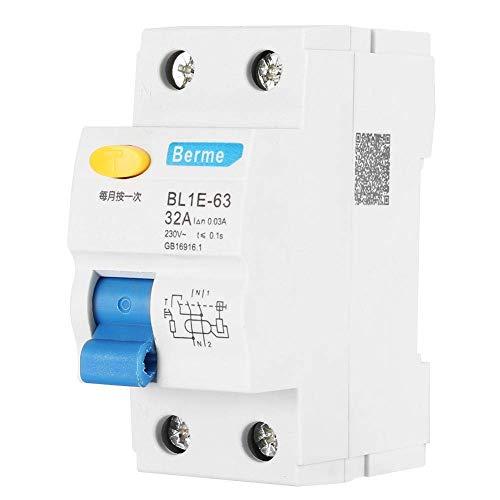 Fafeicy 230V 30mA FI Schutzschalter, BL1E-63 32A 1P + N Hochleistungs FI Schutzschalter Fehlerstromschutzschalter