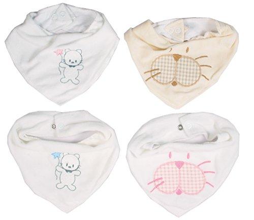 Ti TIN - Conjunto de 4 Baberos de Pañuelo Impermeables   Baberos transpirables con cierre de broche   Forro de microfibra e interior de algodón