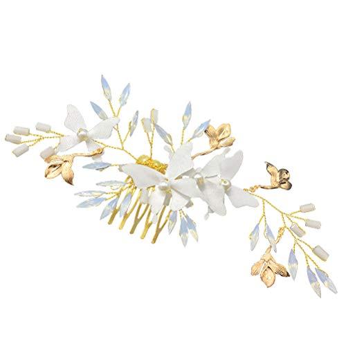 Frcolor Novia Peinetas de Pelo Clips de cristal mariposa Pelo Peine Tocado...