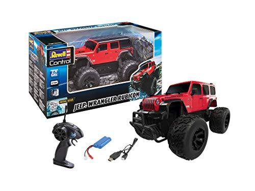 Revell Control 24464 RC Car Monster Truck Jeep Wrangler Rubicon Off Road, 2.4 GHz, Li-Ion-Akku, Metallgetriebe, Spritzwassergeschützt, 28cm ferngesteuertes Auto, Rot