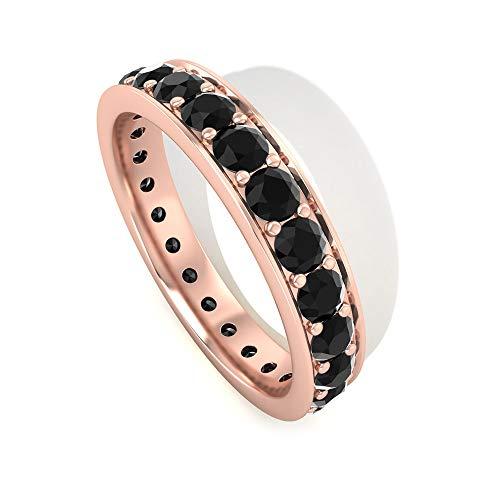 Anillo de eternidad completo con certificado SGL con espinela negra, anillo de boda apilable, diamante de claridad de color HI-SI, banda de aniversario, 14K Oro rosa, Size:EU 49