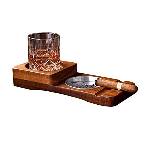 SHAY Bandeja de Posavasos de Vidrio para Whisky Cenicero de cigarros Soporte...