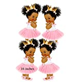 Baby Princess Party Cut-Outs, African American Princess Baby Shower Decoration (16 inches)