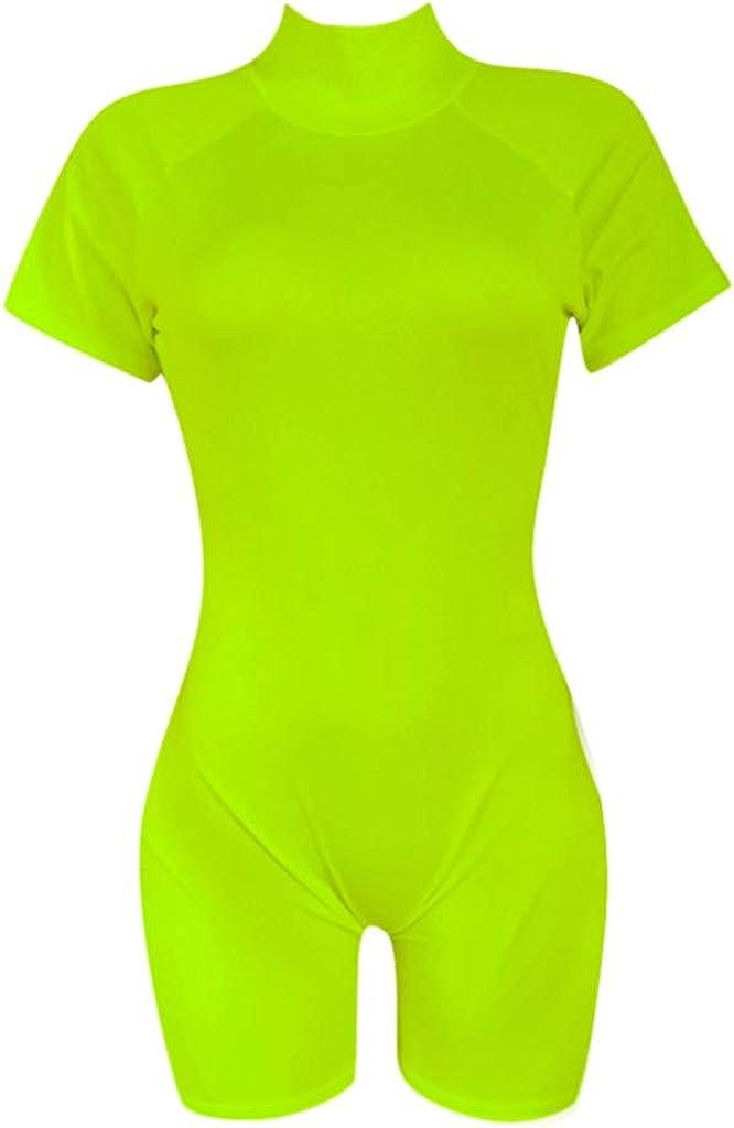 FRAUIT Damen kurz Jumpsuit Clubwear Yoga Bodysuit Stretch Overall Sporthosen Playsuits Jogging Strampler Hosenanzug Trainingsanzug