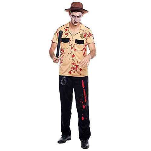 Hipex Collection Disfraz de Cosplay para hombres, Halloween, Carnaval, Fiestas, Disfraces Adultos Hombre (Sheriff Zombie, XL)