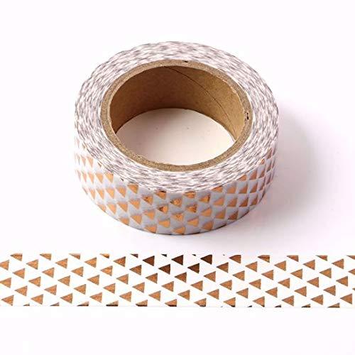 Foil Washi tape 15mm x 10m rame oro rosa triangoli, carta, multicolore