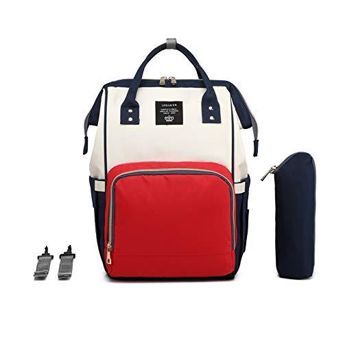 Baby Wickelrucksack, Babytasche für Reise, Wickeltasche Große Kapazität, Multifach Reise Rucksack Wasserdicht Fächer Babyflaschehälter (Rot, Blau und Weiß)
