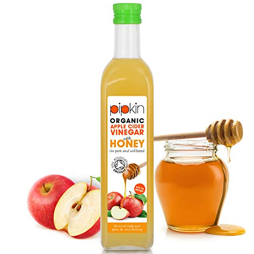 Vinaigre de Cidre de Pommes Brut avec La Miel 100% Bio OrganicPipkin – Pur, non raffiné, non filtré et non pasteurisé