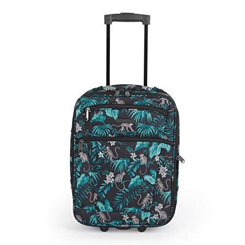 Constellation LG007314PCMONFSDIR1 17 Inch Eva Cabin Suitcase | Carry Handles | Push Button Trolley Mechanism | Polyester | Monkey Print