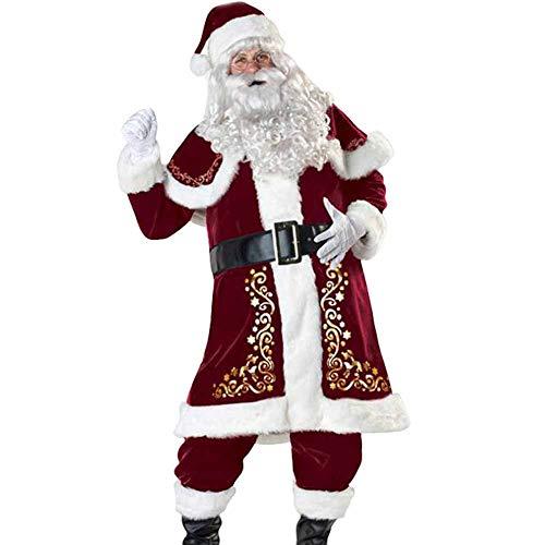 Déguisement du Père Noël Homme Adulte, 8 Pièces Costume Déguisement Complet Noël Rouge Cosplay Fête (Standard - Taille Unique Jusqu'au 6XL),5XL