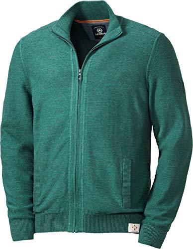 LERROS Herren Zip-Jacke, Strickjacke für Männer, aus 100% Baumwolle, Stehkragen, Melange-Garn, Reißverschluss, in Grün