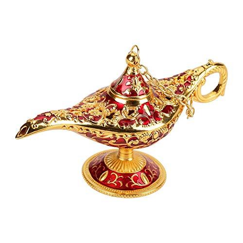 Jingyi Aladdin Light Decor, métal sculpté Creux légende Lampe Creux Aladdin Magic Genie lumière souhaitant Pot Decor, délicat Aladdin Decor(#1 Golden Lace Red)