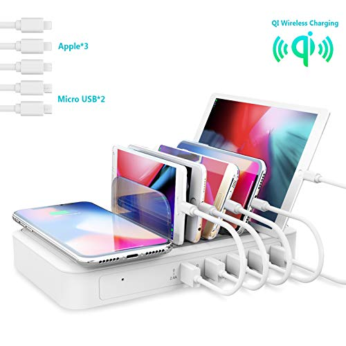 TechDot Ladestation Mehrere Geräte mit Induktives Kabellos Ladegerät Wireless Charger 5 Port Charging Station Multi USB Ladestation Handy Tablet mit Kabellos Ladegerät (5 Kurze Kabel, 2 typ)