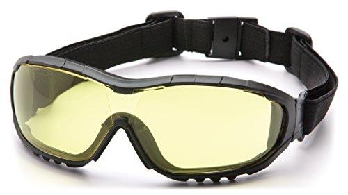 Pyramex V3G Safety Goggles, Black Strap/Temples/Amber Anti-Fog Lens