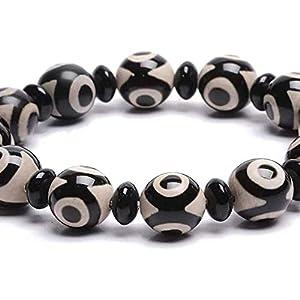 chaosong shop Natürliches Amulett schwarz weiß tibetisches 3 Augen Dzi Perlen Armband Fengshui Reichtum Armband positive Energie und Glück bringen kann Glück bringen