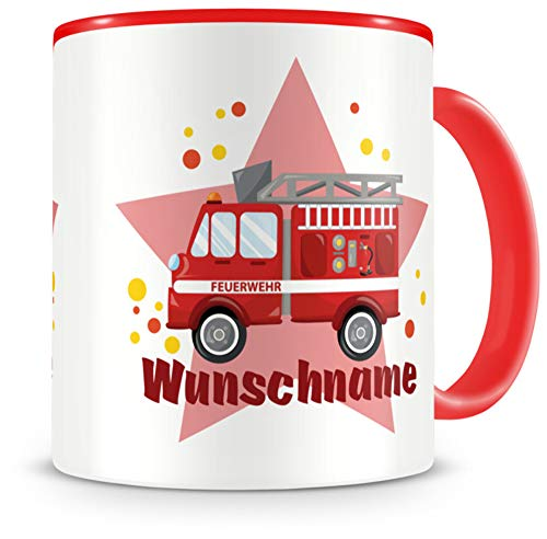 Samunshi® Kindertasse mit Namen Tasse Feuerwehr Auto Personalisierte Tasse mit Namen Kinder Kinderbecher mit Namen Kindergarten rot 300ml