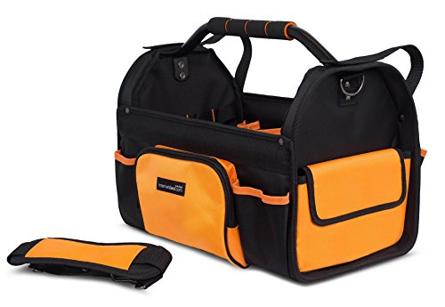 Internet's Best Open Top Tool Bag | Rigid Frame Tote Tool Box | 16 Pocket Hard Utility Tool Bin | 17 Inch