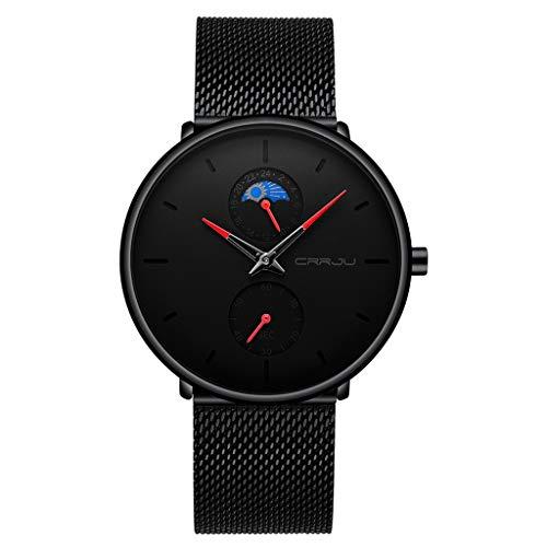 UINGKID Herren Uhr analog Quarz Armbanduhr wasserdicht Uhren Hochwertige einfache e Schwarze Edelstahlgewebe Armband Quarzuhr