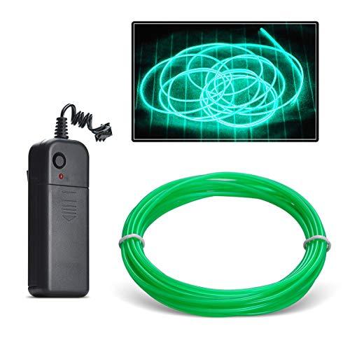 Aogbithy Flexibel Wasserdicht EL Wire EL Kabel Neon Beleuchtung leuchtschnur mit 3 Modis für Partybeleuchtung,Weihnachtsfeiern und Halloween Kostüm Rave Dekoration (Jade grün, 5M)