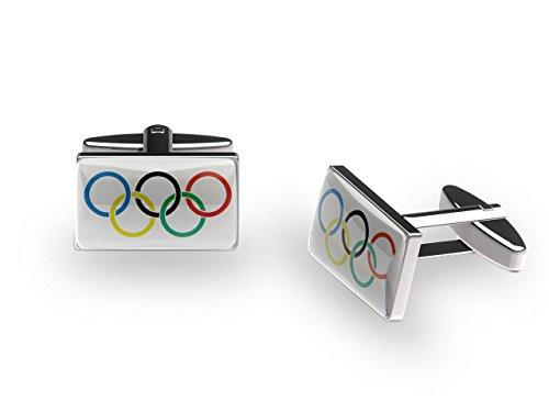Manschettenknöpfe Design: Olympischen Ringe (mit Geschenk-Box)