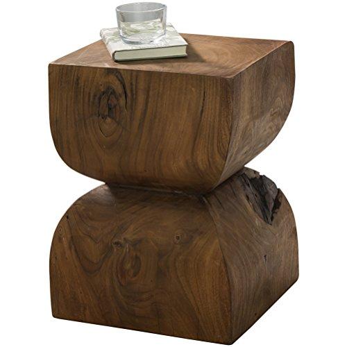 WOHNLING Beistelltisch Massiv-Holz Sheesham 30 x 30 cm Wohnzimmer-Tisch Design dunkel-braun Landhaus-Stil Couchtisch Natur-Produkt Wohnzimmermöbel Unikat modern Massivholzmöbel Echtholz Anstelltisch