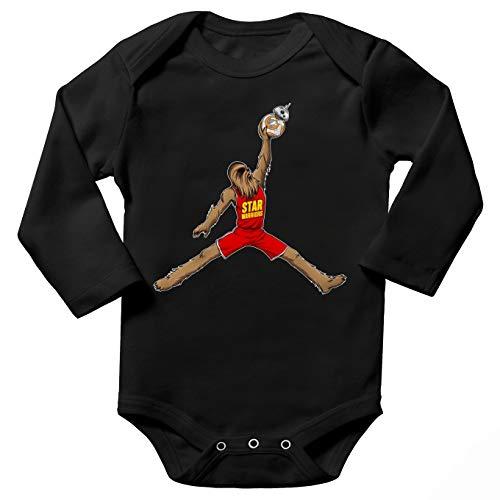 Body bébé Manches Longues Noir Parodie Star Wars - Chewbacca et BB-8 aka Air Jordan - Air Chewie(Body bébé de qualité supérieure de Taille 3 Mois - imprimé en France)