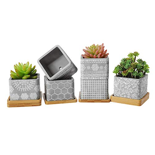 T4U 3.5 Inch Cement Succulent Planter Pot with Bamboo Saucer, Concrete Planter Cactus Plant Herb Container for Gardening Home and Office Decoration Birthday Wedding Gift, Set of 6